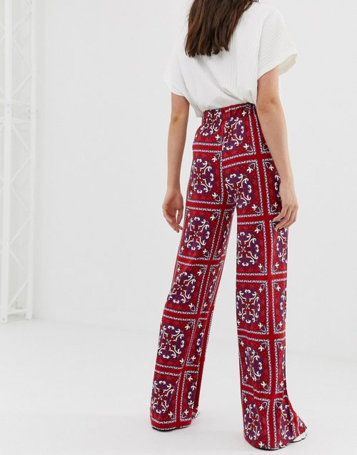 ASOS DESIGN Tall wide leg trousers in paisley scarf print