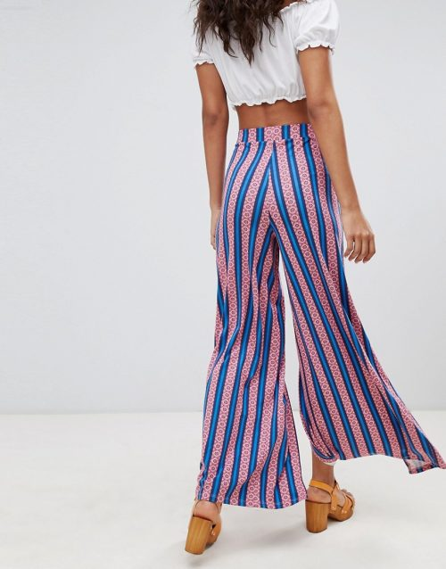 ASOS DESIGN Tall wide leg trousers with split front in aztec stripe print