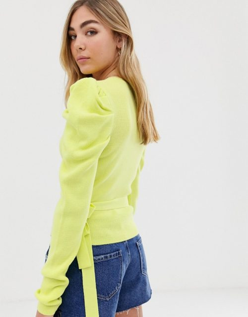 ASOS DESIGN puff sleeve jumper with wrap detail