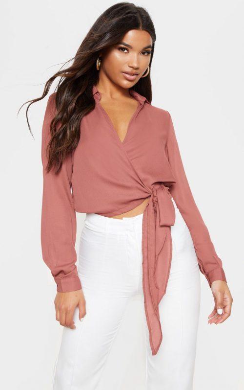 Avalyn Dark Rose Wrap Front Tie Side Blouse, Pink