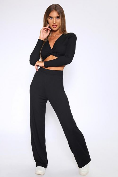 Black Ribbed High Waist Wide Leg Trousers - XS / BLACK