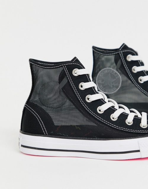 Converse chuck taylor all star hi black mesh trainers