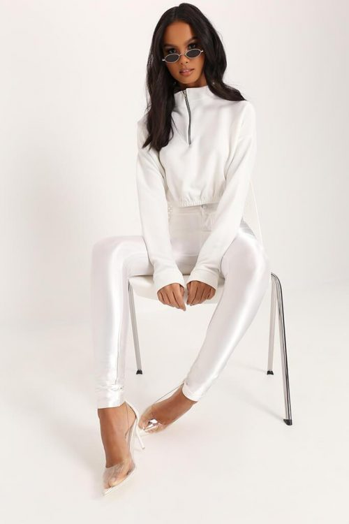 Cream Ring Pull Half Zip Cropped Sweatshirt - 6 / WHITE