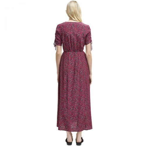French Connection Long floral dress with short sleeves women's Long Dress in Pink