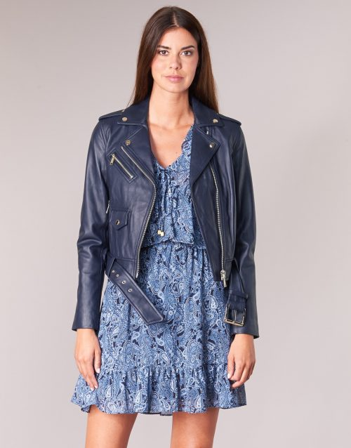 MICHAEL Michael Kors CALSSIC LEATHER MOTO women's Leather jacket in Blue