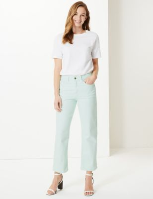 M&S Collection High Waist Straight Leg Ankle Grazer Jeans