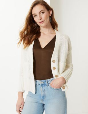M&S Collection PETITE Textured V-Neck Cardigan