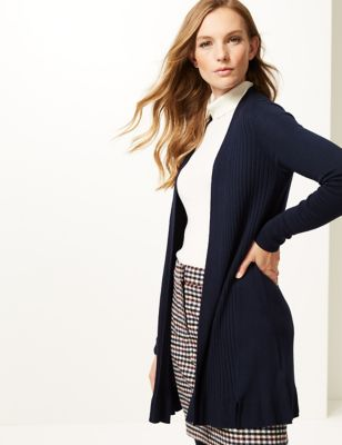 M&S Collection Ribbed Longline Cardigan