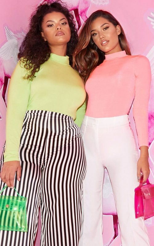 Neon Pink High Neck Jersey Long Sleeve Bodysuit