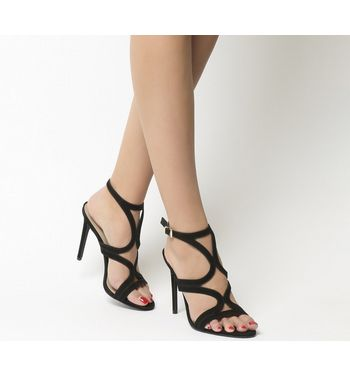 Office Harrogate Strappy Single Sole Heels BLACK NUBUCK