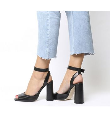 Office Heartly Square Block Heel Ankle Strap BLACK LEATHER