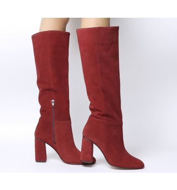 Office Koko- Pull On Block Heel RED SUEDE COVERED HEEL