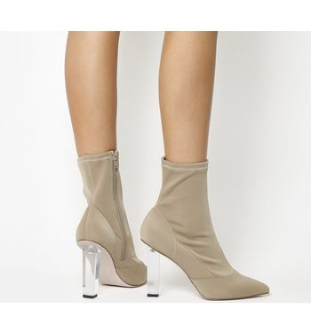 Office London High Cut Ankle Boots NUDE WITH CLEAR HEEL