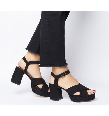 Office O-model- Cross Strap Block Heel BLACK