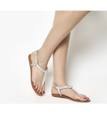 Office Sushi Toe Post Sandal SILVER LEATHER