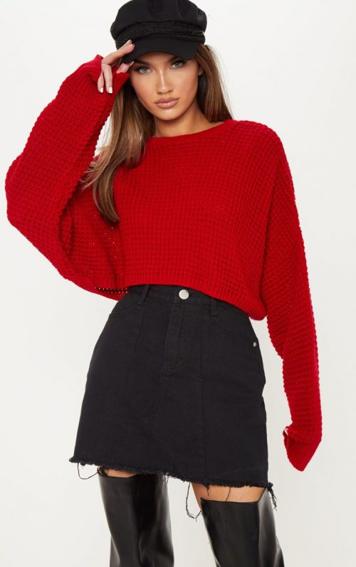 Red Fisherman Knitted Super Cropped Jumper, Red