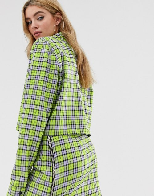 The Ragged Priest boxy cropped shirt in check co-ord