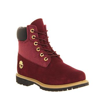 Timberland Premium 6 boots BURGUNDY FAUX PONY