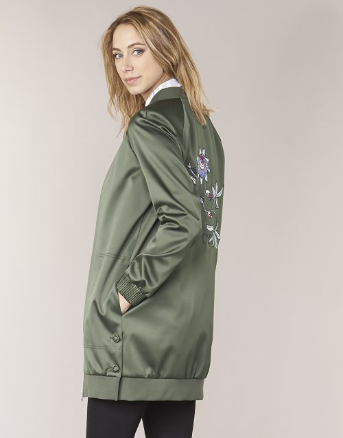 Tommy Hilfiger MABEL-LONG-BOMBER women's Jacket in Green