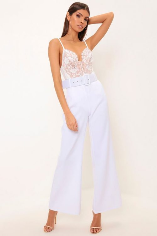 White Flare Wide Leg Trousers - XS / WHITE