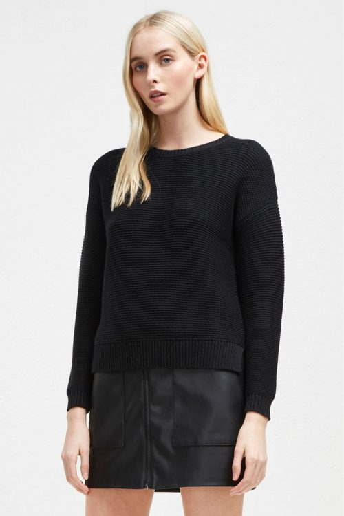 Womens French Connection Black Mara Mozart Crew Neck Jumper - Black