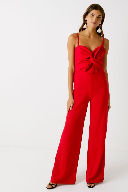Womens Missguided Bow Detail Jumpsuit - Red
