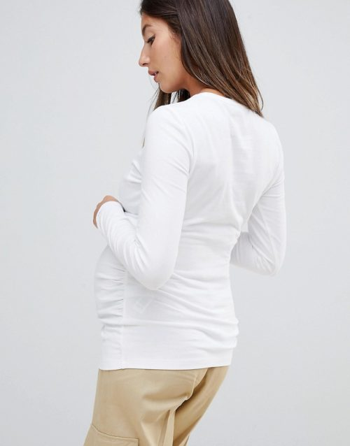 ASOS DESIGN Maternity long sleeve crew neck t-shirt with bump ruching in white