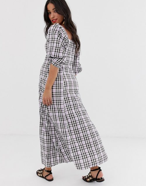 ASOS DESIGN Maternity puff sleeve button through maxi dress in check