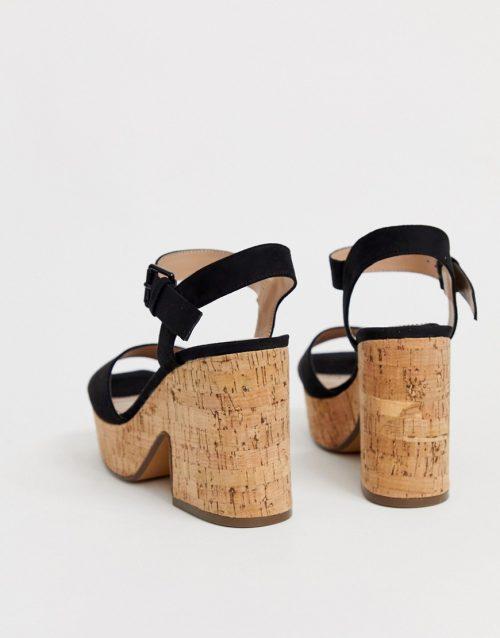 Bershka faux suede platform sandals in black