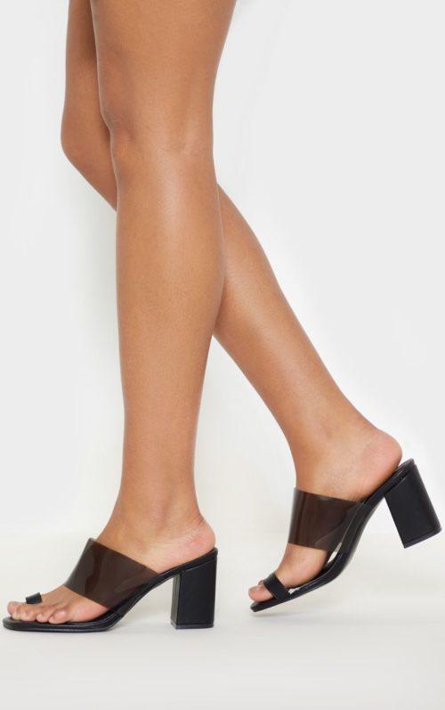Black Clear Block Heel Toe Loop Mule, Black