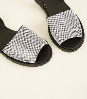 Black Diamanté Peep Toe Flat Sandals New Look