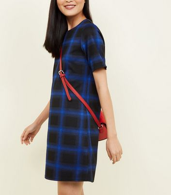 Blue Check Tunic Dress New Look