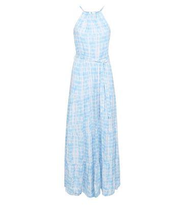 Blue Tie Dye Halterneck Maxi Dress New Look
