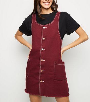 Burgundy Button Up Denim Pinafore Dress New Look