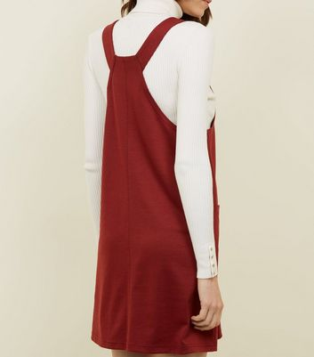 Burgundy Jersey Double Pocket Pinafore Dress New Look