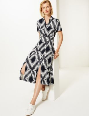 M&S Collection Diamond Print Shirt Midi Dress