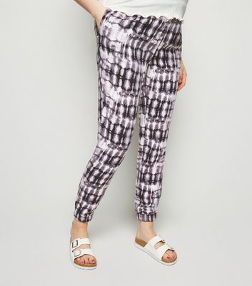 Maternity Black Tie Dye Print Joggers New Look