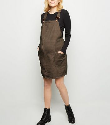 Maternity Brown Houndstooth Check Pinafore Dress New Look