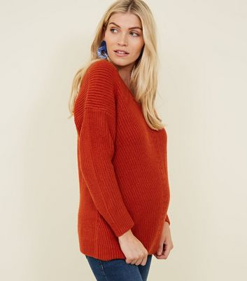 Maternity Orange Lattice Back Jumper New Look