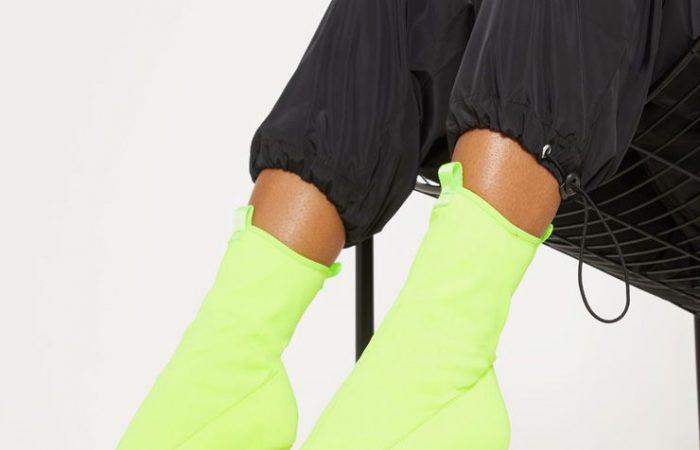 Neon Lime Square Toe Lycra Peeptoe Sock Boot, Neon Lime