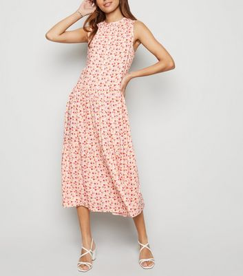 Off White Floral Smock Midi Dress New Look