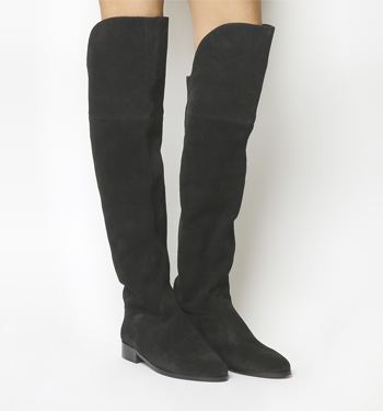 Office Kube Slouch Over The Knee Boots BLACK SUEDE