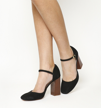 Office Nibbles Mary Jane Block Heel BLACK SUEDE