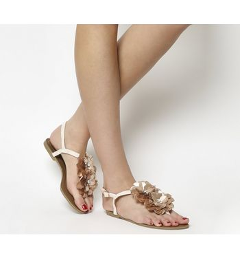 Office Sweetpea Sequin Flower Trim Sandals OFF WHITE SNAKE