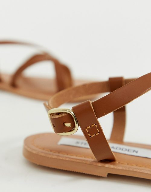 Steve Madden Beloved tan leather flat sandals with toe loop detail