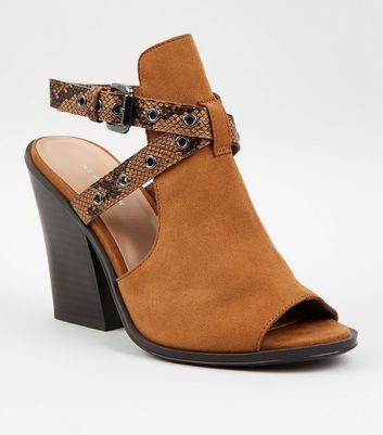 Tan Suedette Faux Snake Strap Block Heels New Look