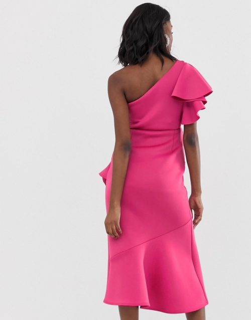 True Violet Maternity one shoulder scuba midi dress with frill hem in fuchsia