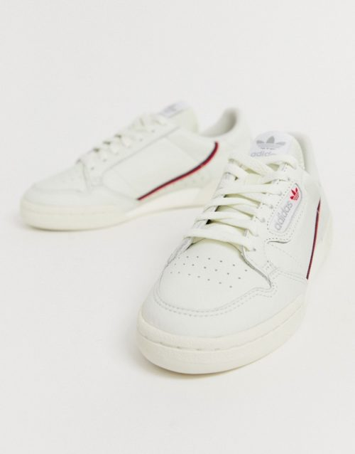 adidas Originals Continental 80's Trainers In Off White And Red