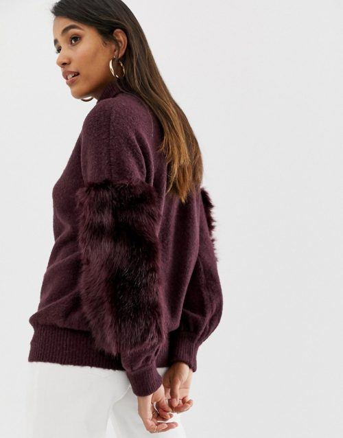 French Connection high neck faux fur jumper