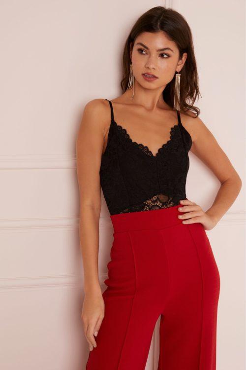 Lipsy Strappy Lace Bodysuit - 6 - Black